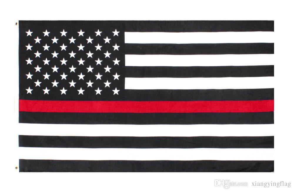 freier direkter Fabrikgroßverkauf des Verschiffens 3 durch 5 ft Polyester Vereinigte Staaten der dünnen roten Linie Flagge des amerikanischen Feuerwehrmanns