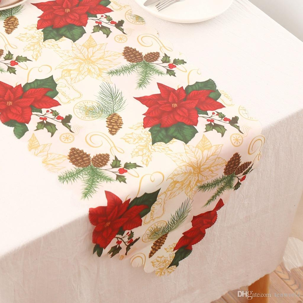 Christmas Dining Table Runners Mat Santa Claus Table Cloth Xmas Table Flag Decorations Dinner Home Party Decorative Supplies Holiday Table Runner
