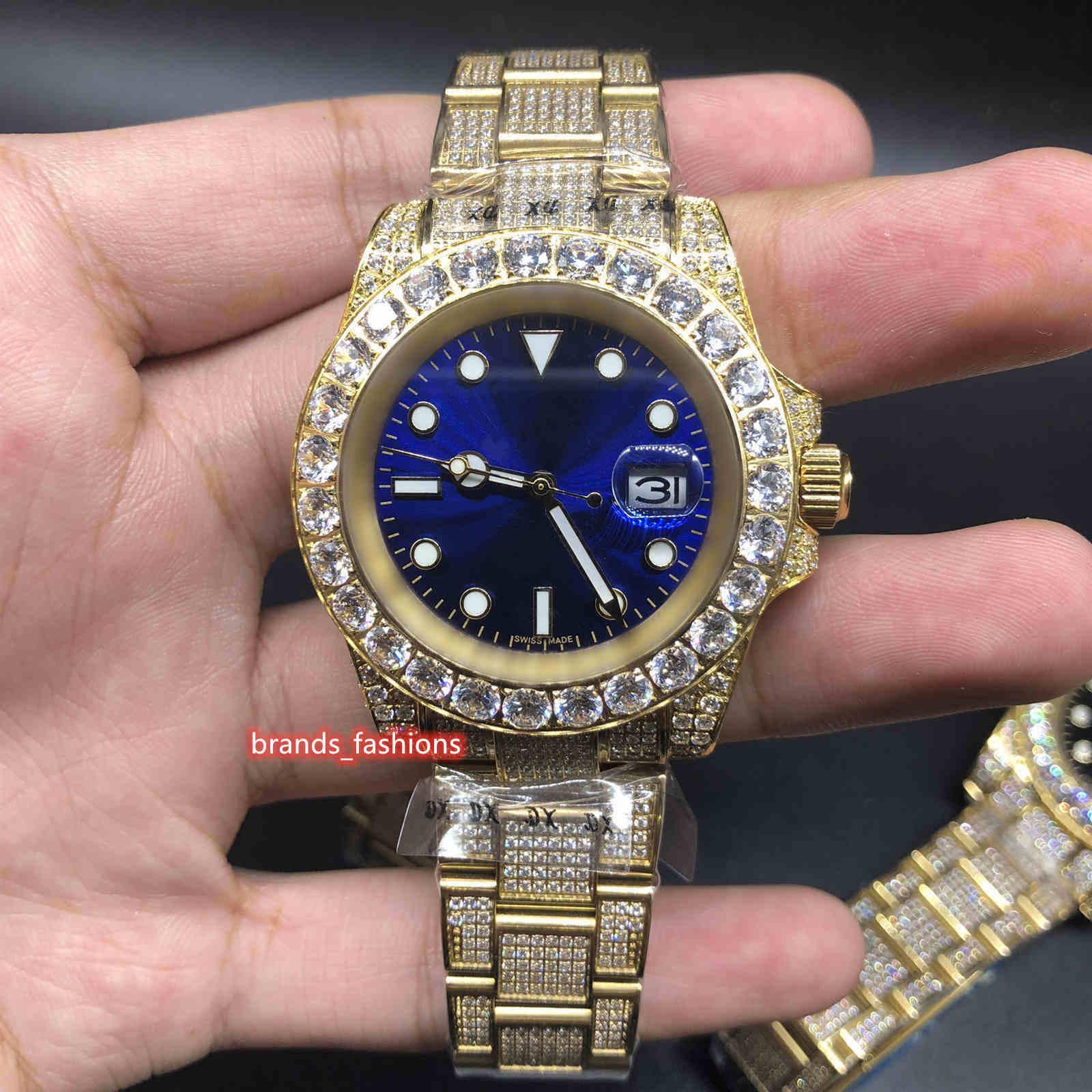 Neue verbesserte Version der Herren-Eishockey-Diamant-Uhr Gold-Edelstahl-Kasten-Bügel-Uhr-automatische mechanische Armbanduhr