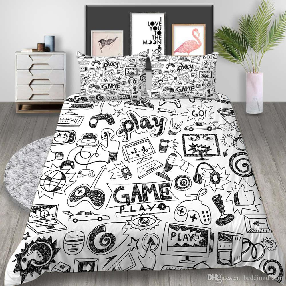 만화 그린 침구 세트 킹 창조적 인 멋진 간단한 3D 이불 커버 퀸 예술 홈 데코 더블 싱글 침대 커버 베개