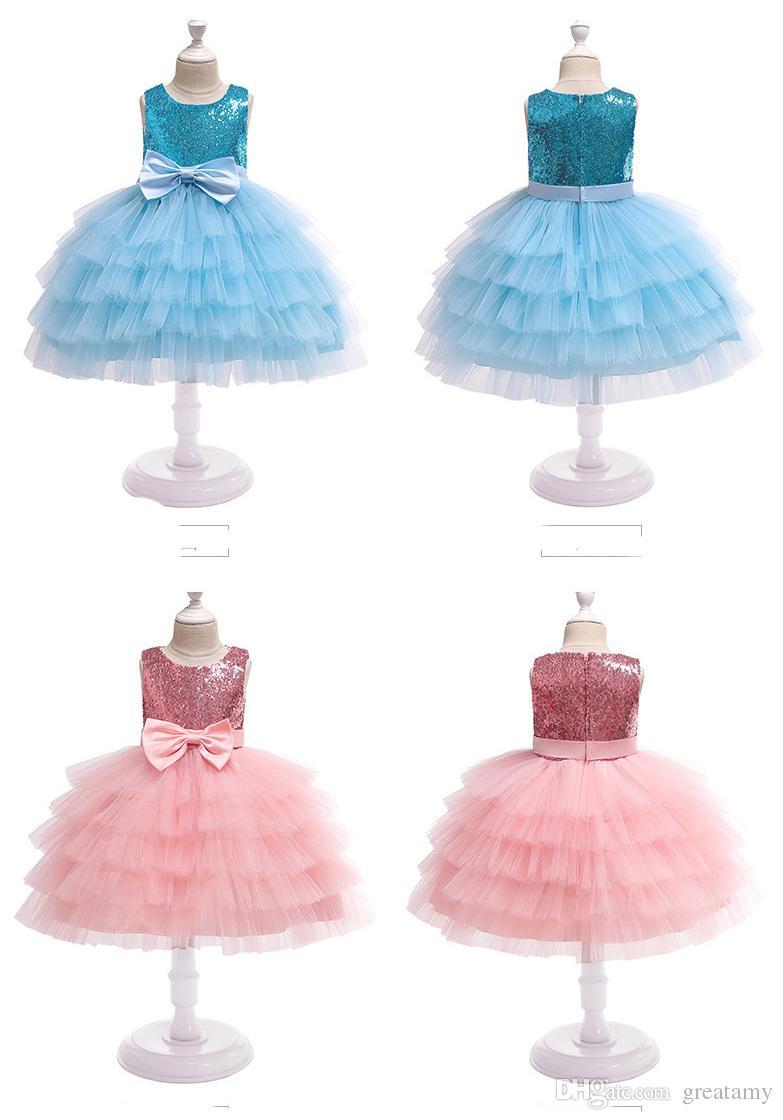 Robes de mariée pour filles Flower Girl Princesse Jupes paillettes enfants couches de gâteau robe de bal enfants boutiques vêtements pour Halloween X'mas