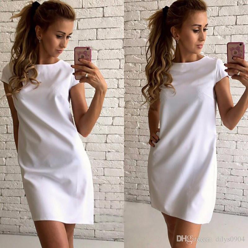 vestido suelto una línea de vestidos de diseño para mujeres Ropa de playa de arena de Nueva atractiva rusa caliente de 4 colores de moda de manga corta cuello redondo