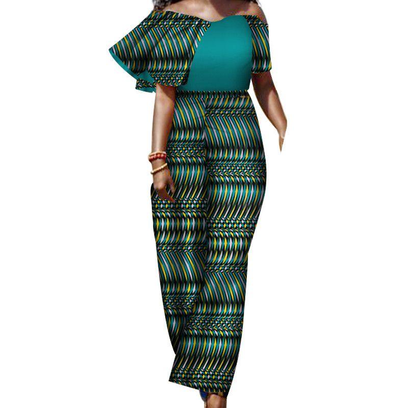 combinaisons d'été pour les femmes 2019 avec impression salopette sexy combinaison femme pantalon élégant dashiki col slash, plus la taille 5xl WY3193