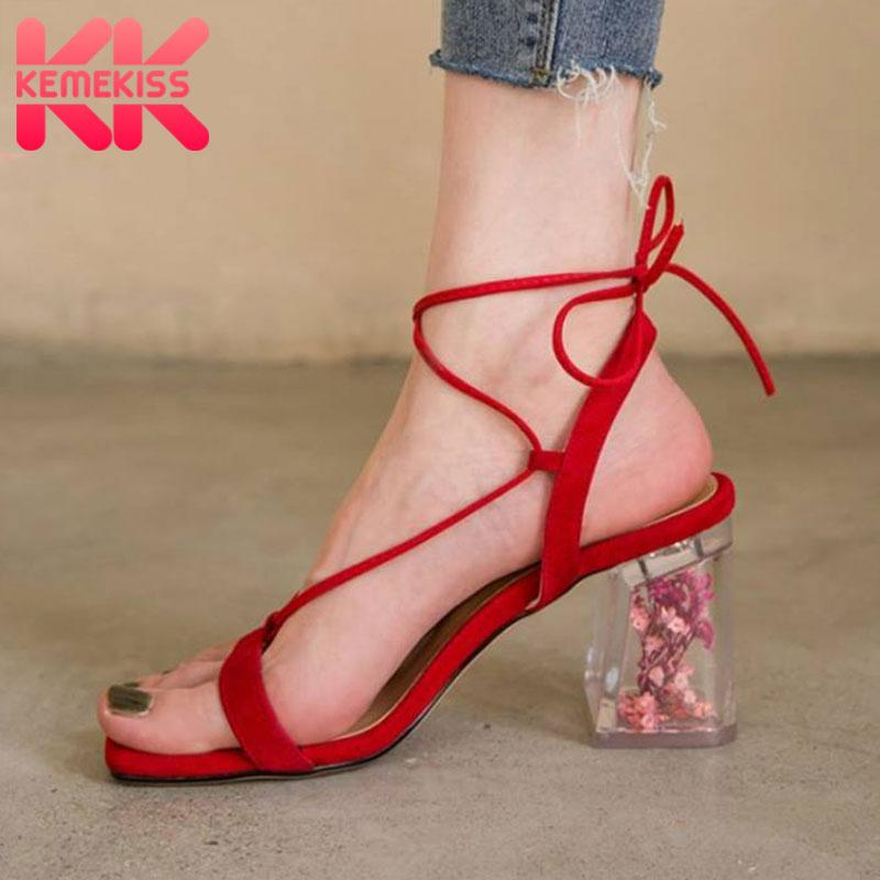KemeKiss New Woman High Heel Sandals couro reais Salto cristal sapatos de mulher Summer Party Ladies Footwear Tamanho 34-40