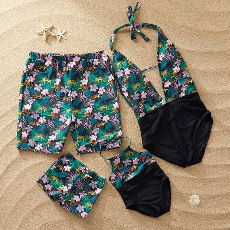 Family Swimwear Leaf Print Swimsuit Mother Daughter Bath Suits Dad Son Swim Shorts Mommy Daddy And Me Matching Clothes Outfits Matchin tYg5#
