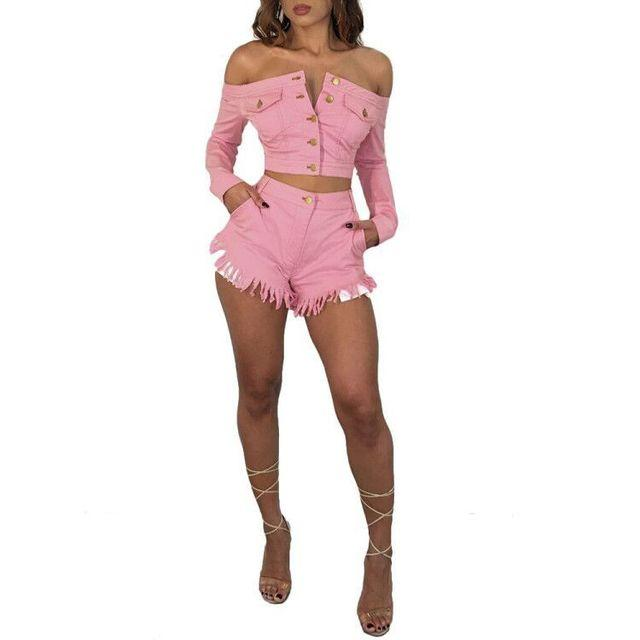 Women Casual Tassel Denim Two Piece Suits Slash Neck Sexy Tops And Pleated Short Pants Sets Fashion Bodycon Elegant Two Piece Pants Outfits