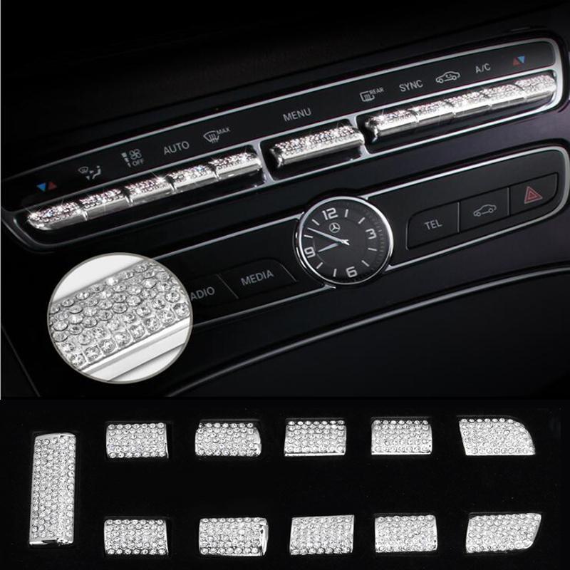 Car Center console control button knob cover Trim Strips sticker Accessories For Mercedes Benz C E class GLC W205 W213 X253 Car-styling