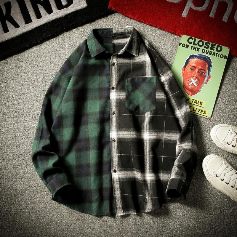 Remiendo del otoño camisa de los hombres a cuadros de manga larga de los hombres de Hip Hop de las camisas sport del bolsillo Streetwear Moda abrigos Clothesb50