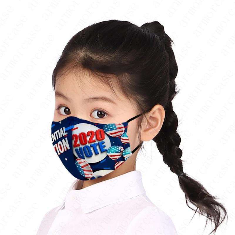Garçons Filles Masque président américain Concepteurs Lettres Imprimé enfants Enfants Masque Trump 2020 Drapeau poussière Fog PM2,5 Marque Masques lavables D52810