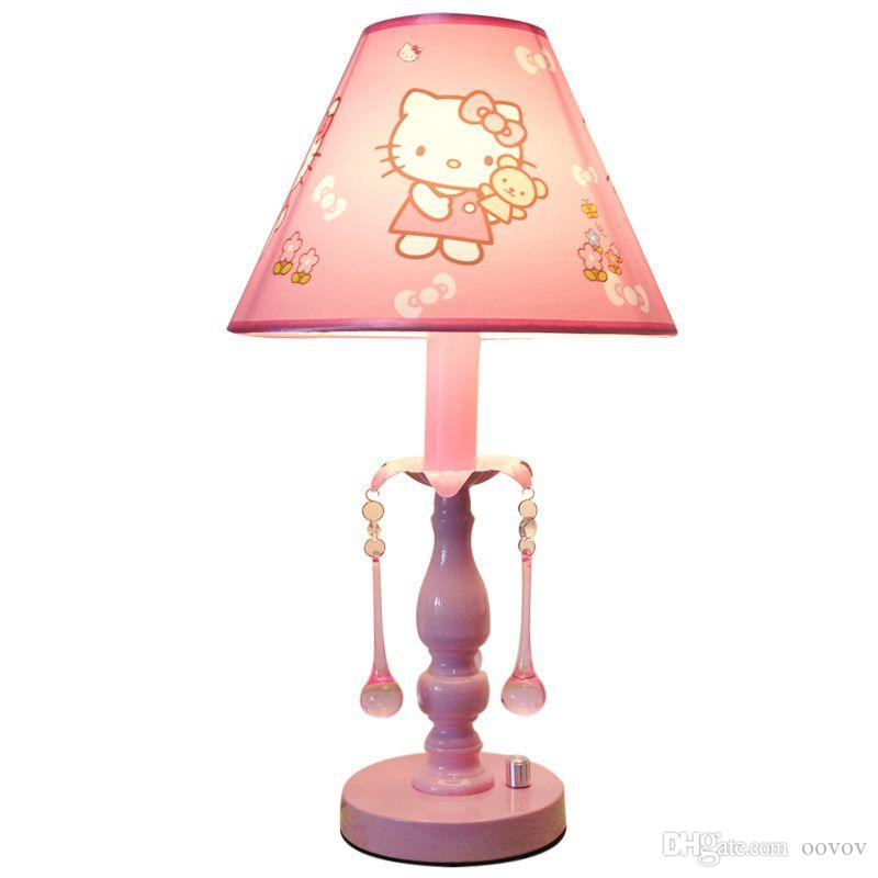 OOVOV Princess Room Pink Fabric Table Lamp Cute Fashion Kids Room Crystal Desk Lamp Girls Room Desk Lamps