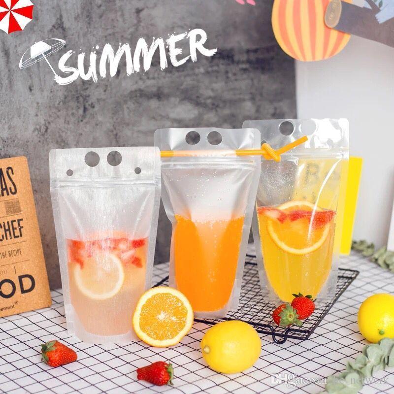 جديد تصميم البلاستيك شرب كيس التغليف الحقيبة للمشروبات عصير حليب أكياس القهوة مع ثقوب للقش