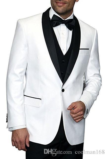 Custom Made Weiß Bräutigam Smoking Schwarz Revers Groomsmen Mens Wedding Dress Beliebte Man Jacket Blazer 3-teiliger Anzug (Jacke + Hose + Weste + Tie) 1024