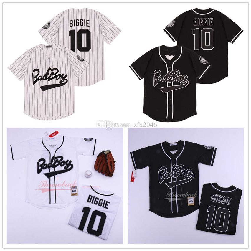 영화 남성 비기 스몰 저지 악명 B.I.G. 배드 보이 야구 저지 # 10 비기 스티치 농구 셔츠는 화이트 블랙 자수