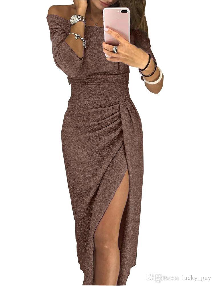 Avrupa ve Amerika Sıcak Bayanlar Kalça Yarık Boyun Elbise Pırıltılı Elbise Etek Akşam Elbise