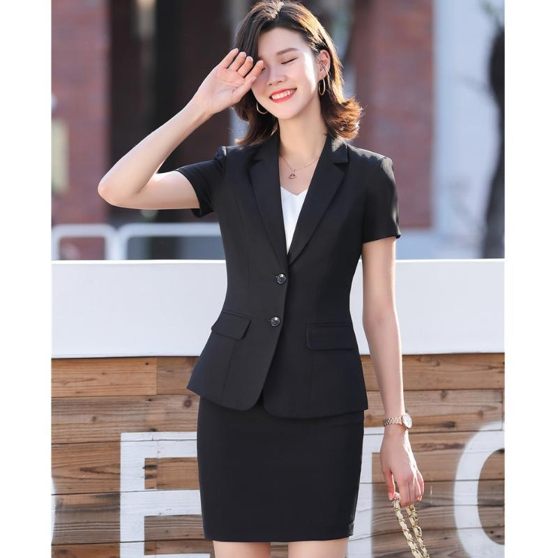 Summer Formal Female Skirt Suits for Women Business Suits Office Ladies Black Blazer and Jacket Sets Work Wear Clothes