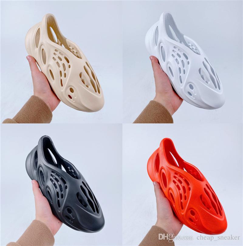 2020 Канье Уэст Мужская обувь для запуска пены Бегун гонщик Спорт пляж сандалии обувь кроссовки женщин скелет дизайнер кроссовки размер 36-44