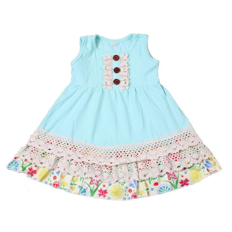 2020 ropa del vestido de las niñas Kids Summer Azul Puro colmenas del cordón trajes de seda de la leche con encanto vestidos princesa niño