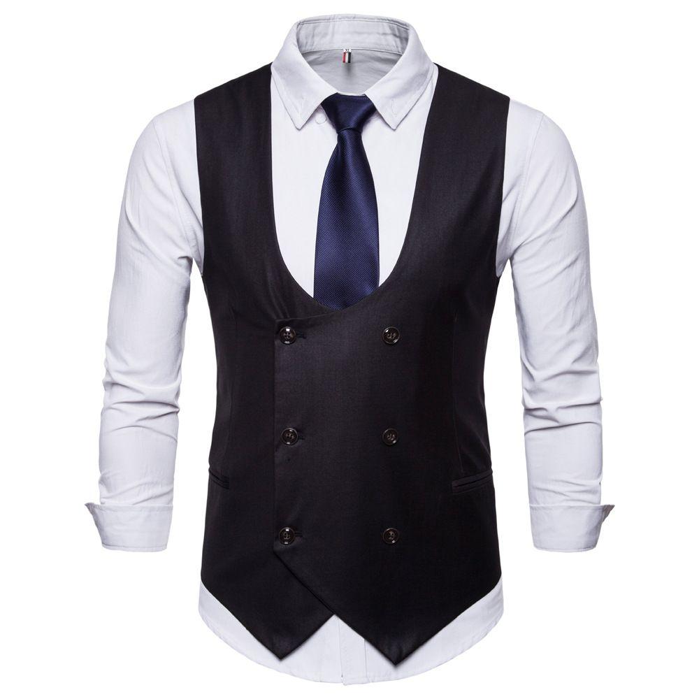 Sonbahar erkek moda ince takım elbise yelek erkek kruvaze katı renk yelek düğün damat yelek desteği özel