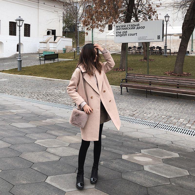 MiShow 2019 outono e inverno de lã casaco feminino Mid-Long New coreano temperamento populares coat Casacos de lã das mulheres MX18D9662 DT191023
