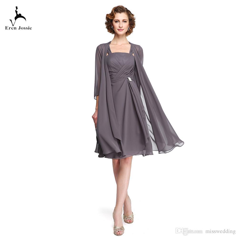 großhandel eren jossie elegante kleider für die brautmutter mit langer  wickeljacke drapieren knielang short grau chiffon custom made von  misswedding,