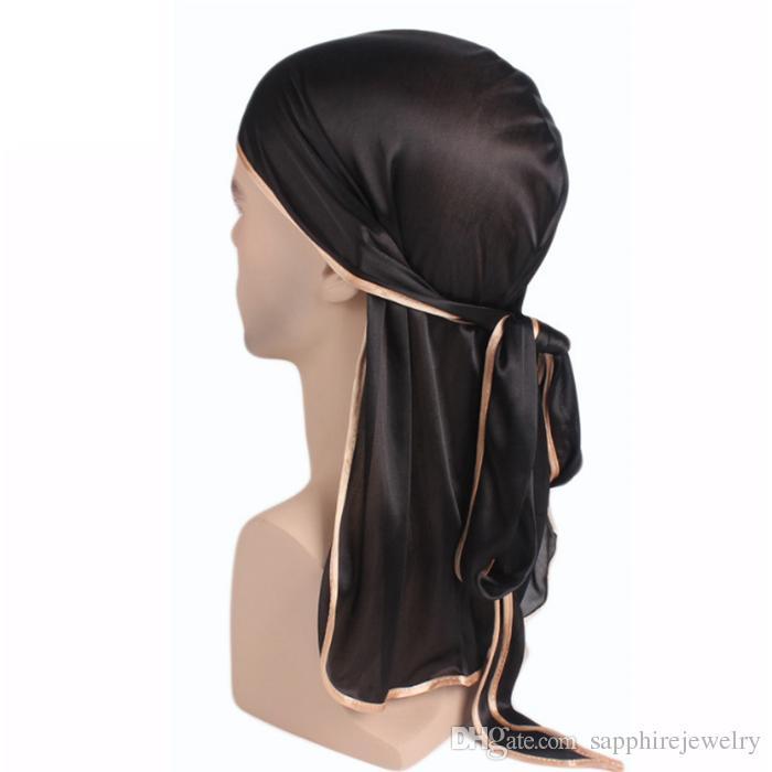 Fashion Mens Satin Silky Durag Bandanna Turban Wigs Long Tail HeadWrap Headwear Headband Pirate Hat Hair Accessories For women and Men