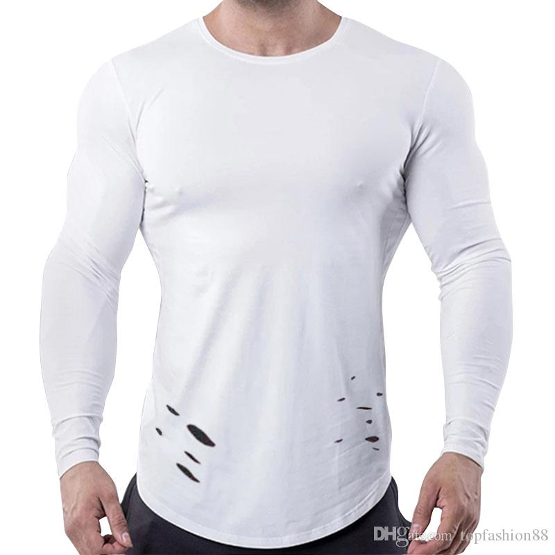 Mens Athleisure Casual Long Sleeve Hole T-Shirts For Male New White Trendy Workout Fitness Jogger Tops Tees Shirts 3XL