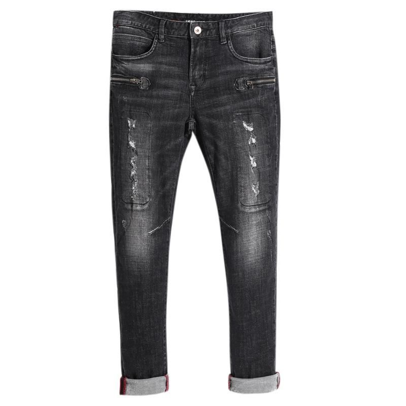 Homens novos Jeans Splice Bleached rasgado costura longa Denim Calças Lápis por Homem Moda Jeans Casual