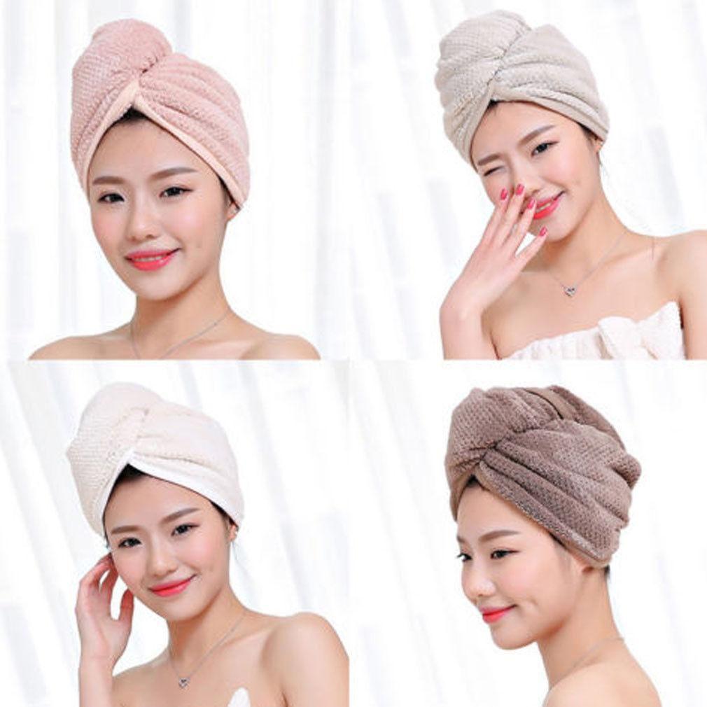 Os mais recentes microfibra Depois Toalha Chuveiro Cabelo de secagem Enrole as meninas das mulheres da Senhora Quick Dry cabelo Hat Cap Turban Envoltório principal banho Tools