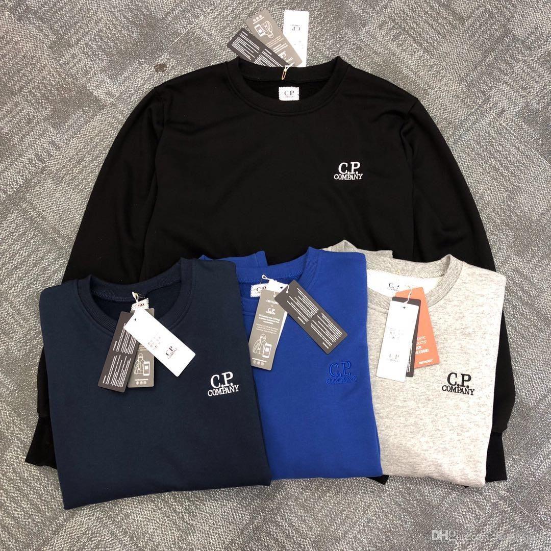 Lettre C.P.Company Broderie col rond Pull à manches longues en coton pour hommes et femmes talonnage Shirt S-XXL