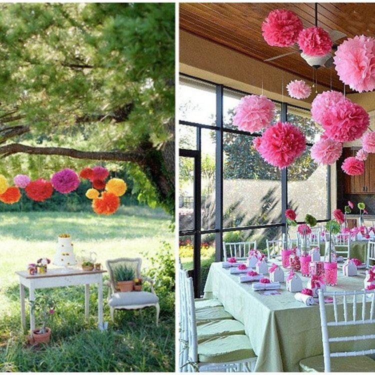Renkli doku kağıt topu çiçek doku kağıt yapay çiçek düğün doğum günü Noel Anneler Günü için dekoratif çiçekler T2I5345