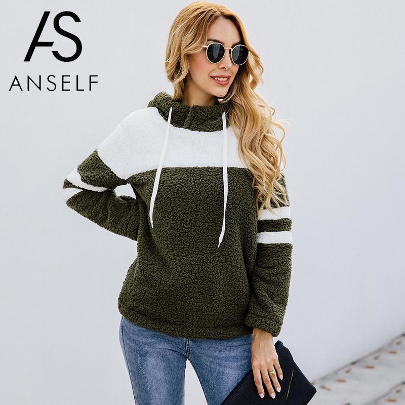 2019 Herbst-Winter-Flurry Warm Sweatshirts Frauen Pullover Patchwork mit Kapuze Langarm Streetwear Frauen beiläufige Street