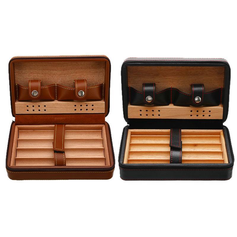 Caja de cigarros Cohiba titular de la cremallera de cuero + Almacenaje de madera Humidor caja de regalo con las PC 1 cortador de puros (no incluir más ligero)