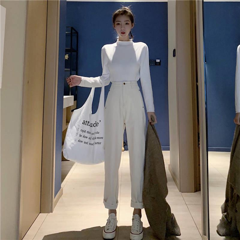 Vintage Meter weiße Jeans Women Cotton High Waist Harem Denimhose Weibliche Beige lose Boyfriend Neun Knöchel Jeans Street