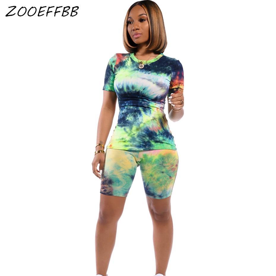 Tamaño ZOOEFFBB Plus teñido anudado de impresión de dos piezas de ropa de las mujeres chándal Top motorista ponen en cortocircuito juegos de sudor equipos del verano a juego CX200702