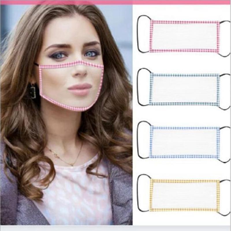 Temizle Tasarımcı Yüz YYA342 300pcs Maske toz geçirmez 4 Styles dilsiz Şeffaf Yüz Maskesi dudak dil Yıkanabilir Yeniden kullanılabilir Maskeler Sağır