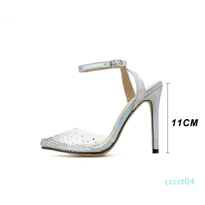 Fashion rhinestone PVC transparent shoes stilettos high heels sandals women pointed toe party silver party wedding shoes ct04