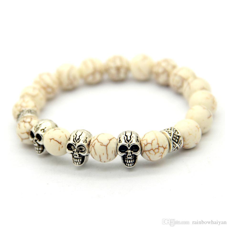 جديد عصري الطبيعي الأصفر عين النمر بوذا رئيس مطرز سوار ، الجملة الفضة الجمجمة أساور مجوهرات للرجال هدية