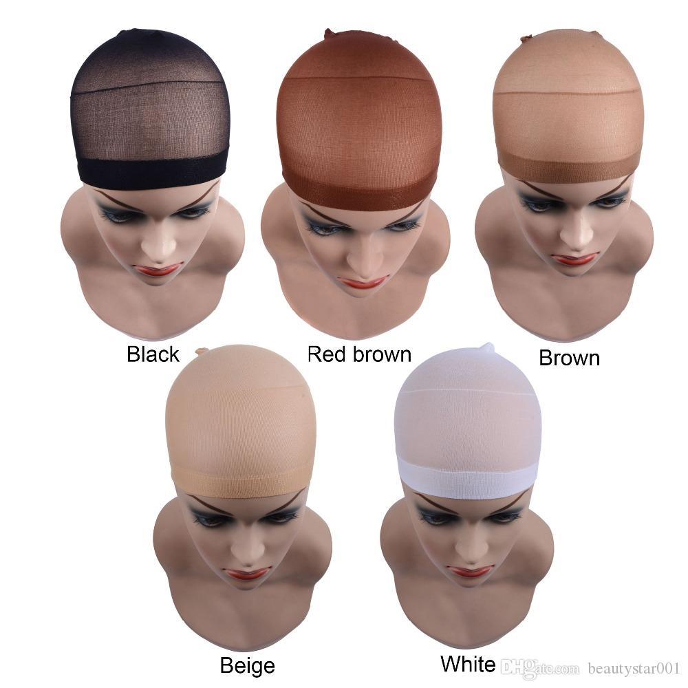 net 2 Pieces / Pacote peruca de cabelo Cap para Cap Wig Weave Hairnets peruca Nets estiramento de malha preta Castanho Bege para fabricação de perucas Tamanho livre