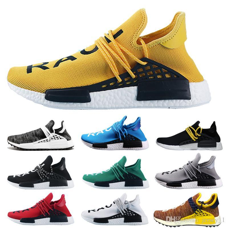 2019 New Human Race1 Designer Running Shoes for Mens Women Yellow Red Green Black White Sports Sneaker Shoe Size 36-45