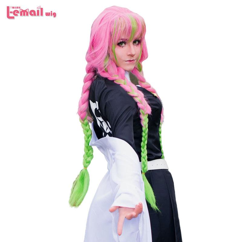 Synthetic None Lace Wigs L Email Wig Demon Slayer Kanroji Mitsuri Cosplay Wigs Kimetsu No Yaiba Long Pink Mix Green Braid Cosplay Wig Baby Hair Lace Front Wigs Long Wig From Zengjianwu1993 A great challenge for me to play this character. dhgate com