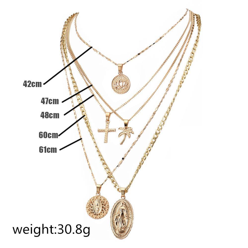 Alyxuy Vintage Multilayer Horst Cross Costant Ожерелье Заявление Девы Мэри Лотос Монета Религиозные Цепи Ожерелье Женщины Ювелирные Изделия