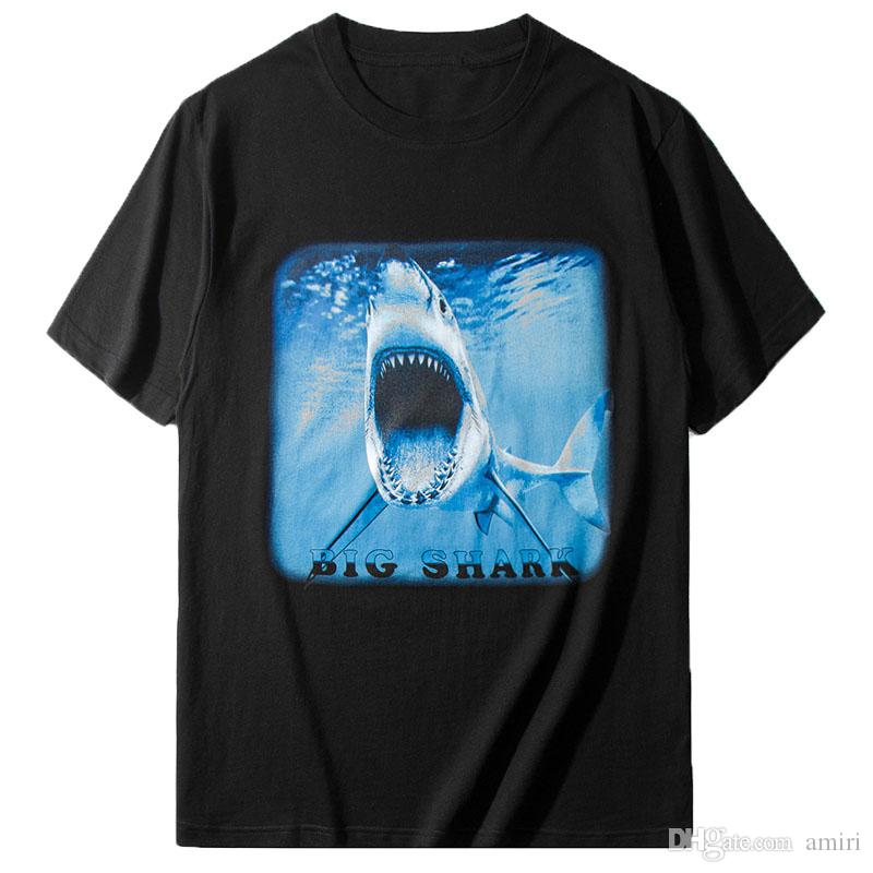 Mode Hommes manches courtes Mode Hommes Femmes de haute qualité Couples manches courtes T-shirts de requin Imprimer