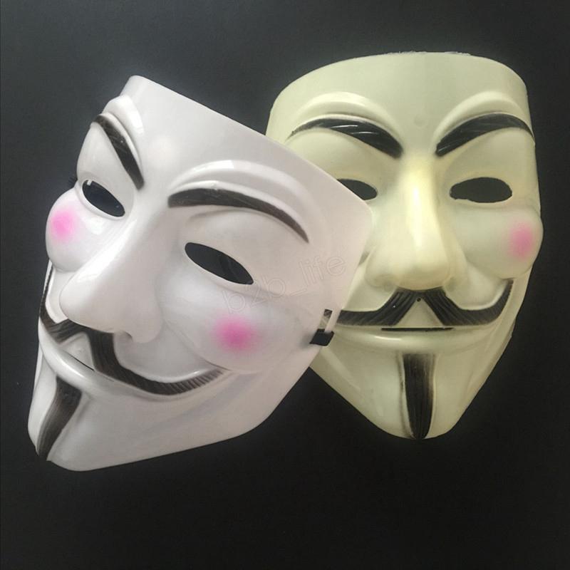 V de Vingança mascarar máscara anónima de Guy Fawkes Halloween Máscara Partido Cosplay Masquerade Street Dance Rave Toy LJJA3063
