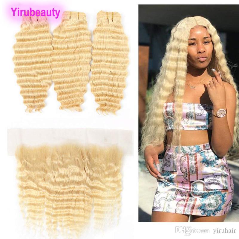 Малазийский человеческих волос Три пачки с 13X4 Lace Фронтальная Deep Wave 613 # уха до уха Кружева Фронтальная с волосами Extensions Блондинка 4PCS