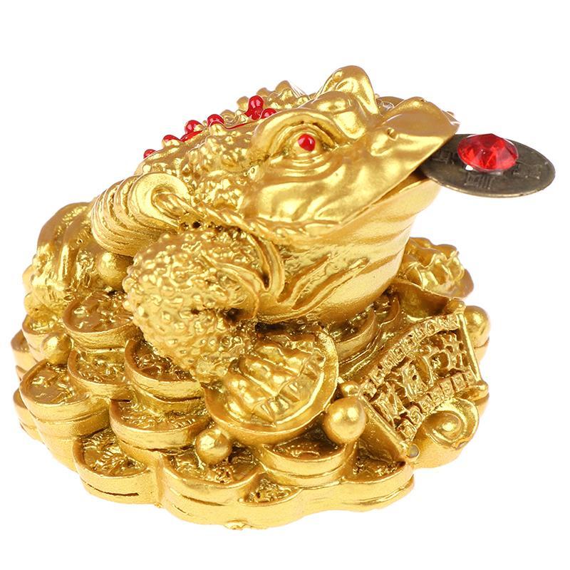 Фэн-шуй жаба Деньги LUCKY Фортуна Богатство Китайская Золотая лягушка жаба монет для дома и офиса украшения Столешница украшения Лаки Подарки