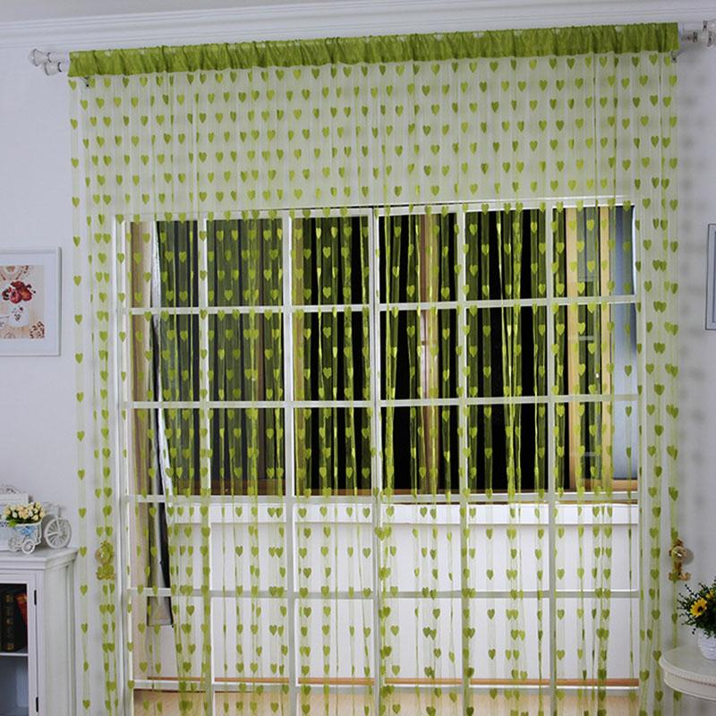 Venta de liquidación Corazón romántico amor cortinas transparentes niños dormitorio sala de estar decoración ventana Gordijnen tul Cortina