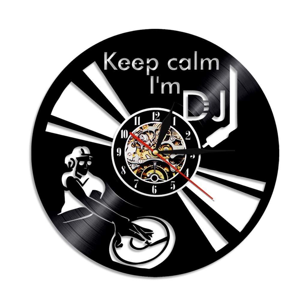 DJ Turntables настенные часы Современный дизайн хип-хоп музыки виниловые записи часов творческий стена искусства декор-03