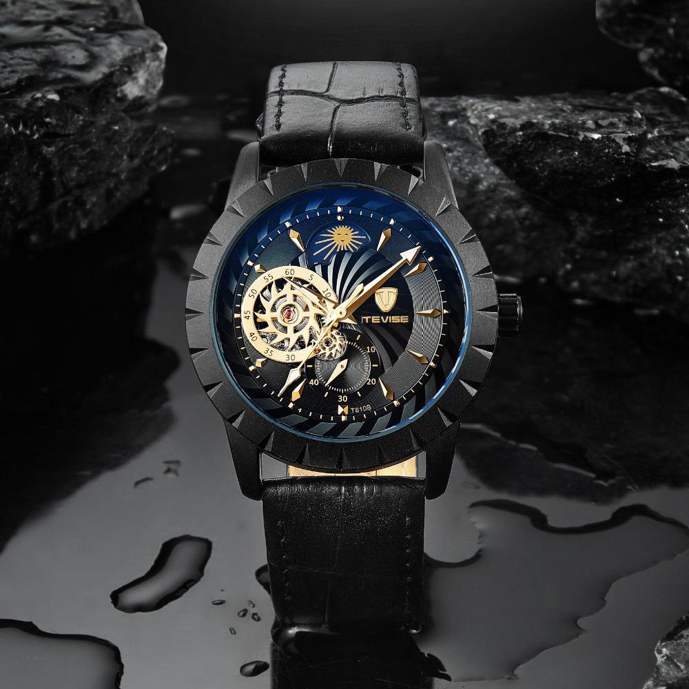 Montres Tevise Hommes 2019 Montre mécanique Self-Wind Montre en cuir noir Phase de lune Tourbillon Business Bracelet lumineux