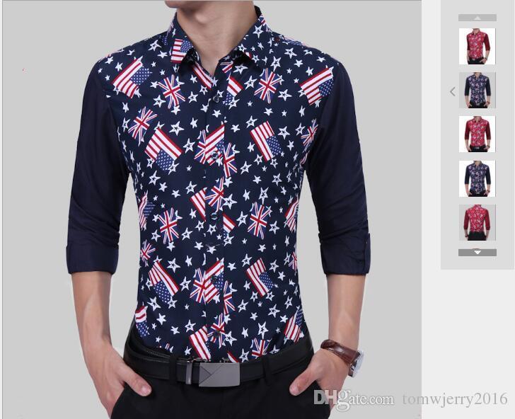 el precio más bajo 21b26 72ab9 Compre Camisa De Manga Larga Para Hombres De Moda 2019 Camisa De Manga  Larga Simple Para Jóvenes De Hombres 2019 Impresa Con Bandera Nacional A  $15.92 ...