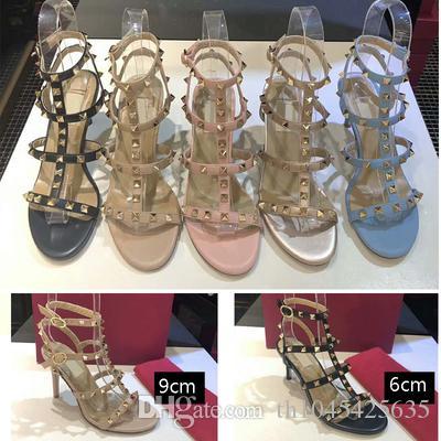sandali da gladiatore da donna rivetti con tacco alto design di moda sandali da abito cinturini da donna estivi sandali da festa scarpe con borchie tacchi femminili décolleté